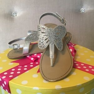 Girls Size 12 Silver Butterfly Sandals